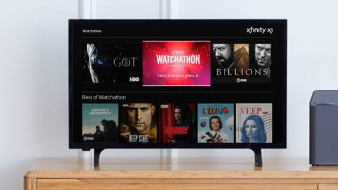 The Watchathon hub on Xfinity X1 displayed on a TV.