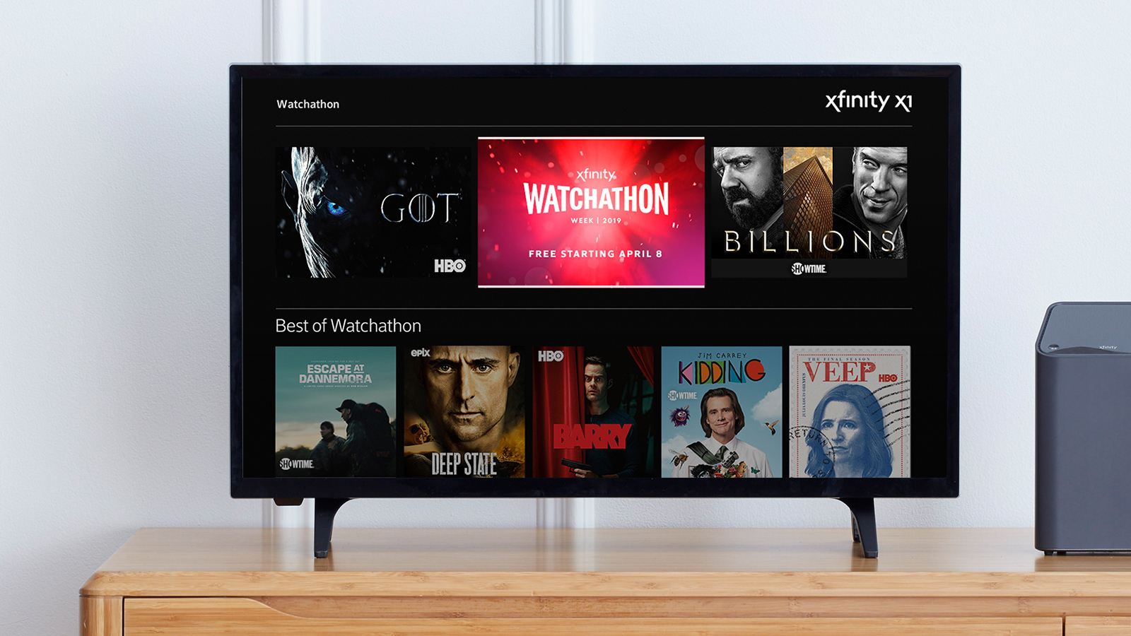 The Watchathon hub on Xfinity X1 displayed on a TV.