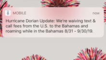 A Hurricane Dorian update notification from Xfinity Mobile.